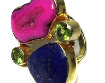free shipping 14 Karat gold vermeil lapis lazuli, geode slice ring, gold ring, multi color ring, adjustable ring, peridot ring