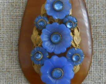 1930s - 1940s vintage floral pendant necklace