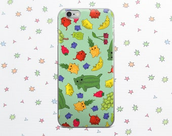 Fruit Cat Case for iPhone 6/7/8/X, Cute Kitties, Cat Phone Case, Phone Accessory, Phone Case, Cat Case, Cute Phone, Cat Lover Gift