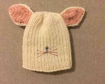 93ad5198178 Hand Knit trendy make magic Bunny hat scull cap cream pink with floppy  bunny ears unisex adult teen