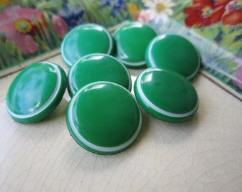 7 Vintage Green Buttons