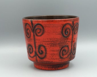 Ilkra Keramik red black white  vintage Mid Century Modern Fat Lava Era planter  from the  1970s West Germany. WGP.
