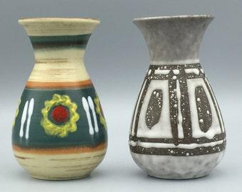 Jasba Keramik 2 cute little  Vintage Mid Century Modern  1960s ceramic vases  -   West Germany Pottery WGP.