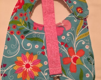 Coordinating Terry Cloth Bib and Pacifier Clip - bright blue floral
