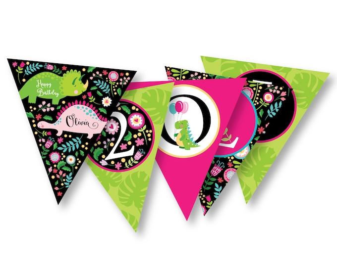 Girl's Dinosaur Bunting, Garland, Banner, Pink Dinosaur banner, Printable, Digital Customized, Cute Dinosaur Bunting, Garland