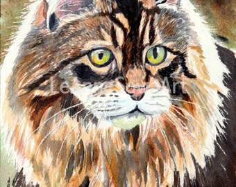 Maine Coon Cat - Prints from the Original Watercolor by LeAnne Sowa