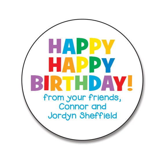 Personalized Birthday Stickers Rainbow Happy Birthday