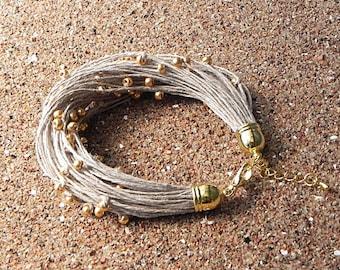 Linen Cord Bracelet Natural Raw Jewelry Bead Bracelet Linen Fiber Bracelet Linen Bracelet Minimalist Jewelry Beach Jewelry Eco Style Jewelry