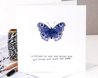 Friendship Card; Friend Card; BFF; Friend; Friendship; Best Friend; Best Friends Card; Butterfly; Blue Butterfly; GC295