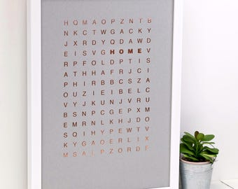 Home Wordsearch Print; Rose Gold Foil Print; Housewarming Gift; New Home Gift; Wall Art; Modern; Grey; Rose Gold; Home Decor; AP138