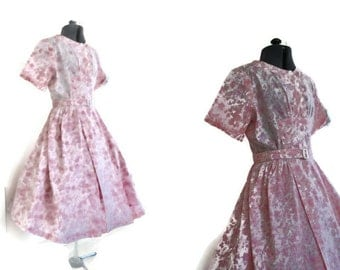 1940's Cotton Day Dress // Vintage Pink Dress // Casual Dress UK Size 12