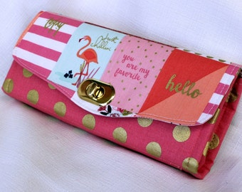 On Trend Pink and Gold Clutch Wallet