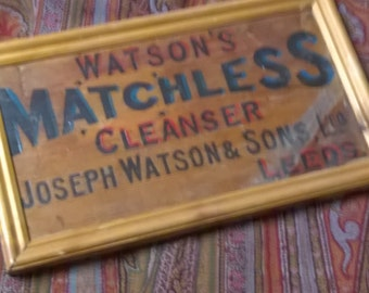 Vintage wooden advertising sign, hand painted Joseph Watson and Sons, Leeds