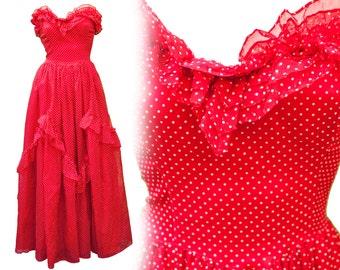 60s Small Dress Gunne Sax Red White Polka Dot Strapless Prom Valentine Day Wedding Bridesmaid Ruffled PinUp Party Tea Lolita Doll Sweetheart