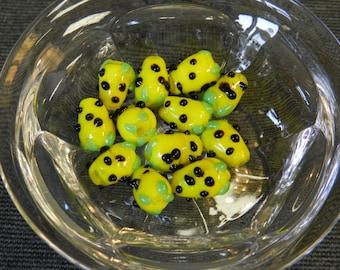 Set of 12 Yellow & Black Berry Lampwork Beads - 12mm - Fruit, Berries, Corn, Veggie, Vegetable