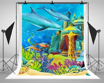 Cartoon Underwater Castle Photography Backdrops No Wrinkles Newborn Baby Photo Backgrounds for Children Studio Props