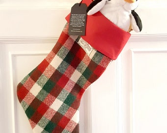Harris Tweed Christmas stocking in festive red, green and white check handwoven tweed, red cotton lining, handmade in the UK
