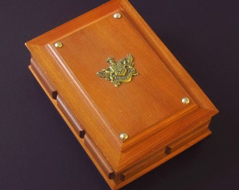 S. Sper Bijou Men's Wood Jewelry Box - Brass Coat of Arms – Fleur de Lis Crest – Vintage Vanity Organizer – Ring Watch Holder – Valet Chest