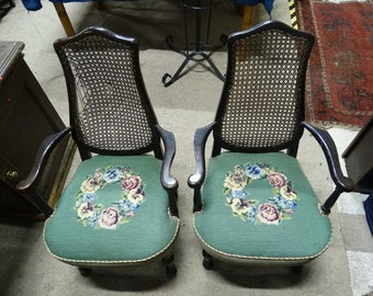 Early C20th pretty shape cane back French oak armchairs pair for renovation project