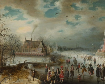 Adam van Breen: Skating on the Frozen Amstel River. Fine Art Print/Poster. (004083)