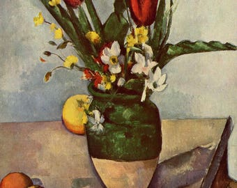 Paul Cézanne: Still Life, Tulips and Apples. Fine Art Print/Poster. (004210)
