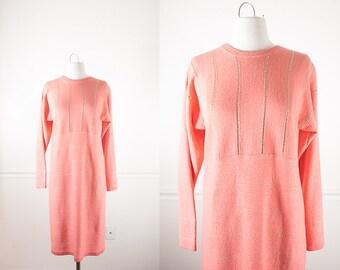 Peach Knit Dress , 60s Dress, MOD 60s Shift Dress, Knit Sweater Dress, Coral Dress, Sheath Dress, 60s Clothing, Mod Clothing, Mod Dress
