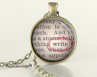 Write Necklace - Writer Necklace - Storyteller - Author - Writing  (B9629)