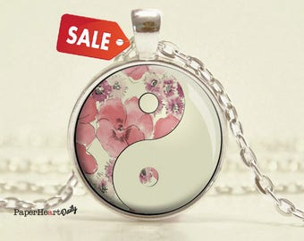 SALE - Yin Yang Necklace - Red - Yin Yang - Pendant - Tao - Taoist - Jewelry - (B3347)