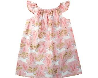 Pink Unicorn Dress - Girls Dress - Baby Dress - Toddler Dress - Birthday Dress - Party Dress - Unicorn Party - Summer Dress Size 3M- Girls 8