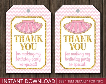 Tutu Birthday Favor Tags - Ballerina Thank You Party Favor Tags - Printable Digital File - INSTANT DOWNLOAD