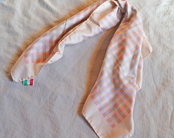 Vintage Scarf - Glentex, Pale Pink with Blue and Peach Checkerboard Pattern, 1970s, Made in Italy