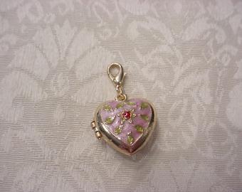Pink Enamel Heart Charm Locket Pendant ~ Vintage