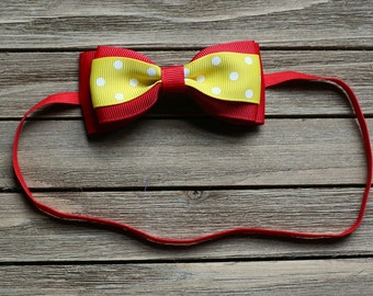 Baby Headband Red and Yellow - spring baby headband - summer baby headband - headbands for girls