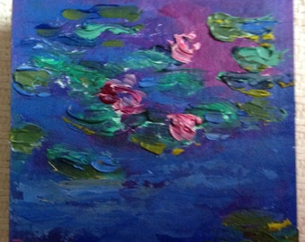 Monet Lily Pond, Small Art, Tiny painting
