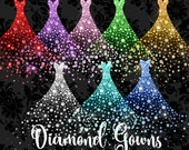 Diamond Gowns Clipart, diamond wedding dress clip art, png overlay glitter sparkling dress graphics instant download commercial use