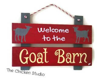 Goat Barn,  Goat Sign, Farm Sign, Outdoor sign, reclaimed wood, goats, farm animals, Welcome to the Goat Barn,