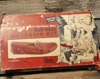 Vintage Tandy Leather Moccasin Kit, Size 13 Mens, Vintage Leather Craft Kit, Mens Size 13 Moccasins, Bull Hide Moccasins, Complete Kit