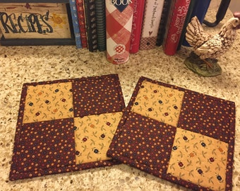 Kitchen Potholders / Quilted Potholders / Country Decor / Handmade / Item #1765
