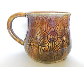 SALE! Carved Stoneware Mug (11 fl oz)