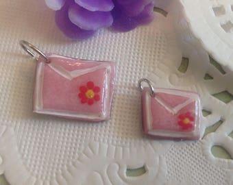 Handmade-Cold Porcelain-Tiny Pink Envelope Charm-Jewelry-Bracelet