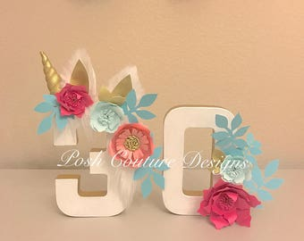 Unicorn Floral Number ©/ Unicorn Photo Prop/ Unicorn Birthday Party/ Unicorn Decoration/First Birthday/ 30th Birthday/ 40th/ Unicorn Centerp