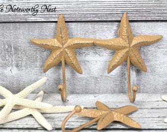 Any Color -// Cast iron starfish hook / bathroom decor // nautical decor // bedroom // sailor decor // beach decor // boat anchor // tan