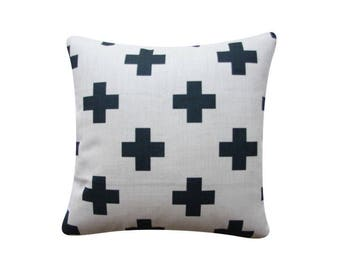 "22"" x 22"" Decorative Pillow Cover Black Cross Scandinavian Minimalist Swiss Cross Cushion Cover Throw Cushion Cover"