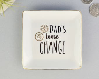 Coin Dish - Coin Tray - Trinket Dish - Mens Trinket Dish - Personalised Coin Dish - Ceramic Coin Dish - Gift for Him - Gift for Dad - Dad
