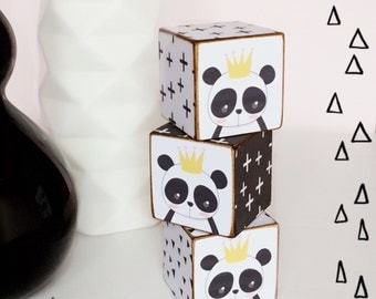 Scandi Style Nursery Panda Wooden Cubes...