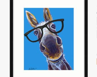 Funny Donkey art print, Donkey with glasses decor. Donkey print from original canvas painting  of 'Snickers'.
