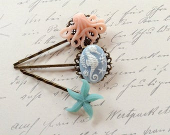 Pastel Octopus And Seahorse Hair Clips