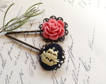 Pink Rose And Ivory On Black Ship Hair Clips