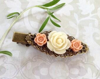 Ivory And Peach Rose Bronze Alligator Hair Clip
