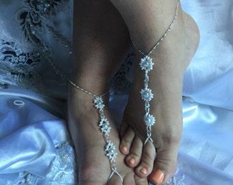 Barefoot Sandals, Barefoot Wedding Sandals, Flower